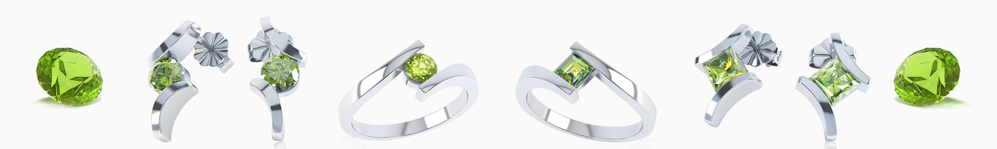Peridot Jewelry - Peridot Necklaces, Earrings, Studs, Drops, Pendants, Engagement Rings and Bracelets