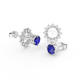 Fusion Sapphire Platinum plated Silver Stud Starburst Earrings Halo Jacket Set