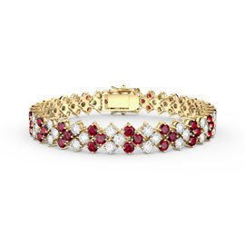Eternity Three Row Ruby and Diamond CZ 18K Gold plated Silver Tennis Bracelet 7 Inch