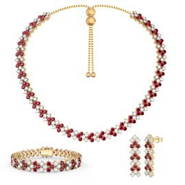 Three Row Ruby and Diamond CZ 18K Gold plated Silver Jewelry Set