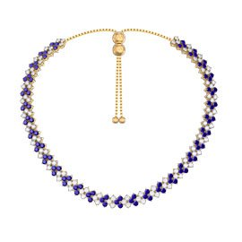 Eternity Three Row Sapphire 18K Gold Vermeil Adjustable Choker Tennis Necklace