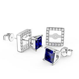 Charmisma 1ct Blue and White Sapphire 10K White Gold Princess Stud Earrings Halo Jacket Set