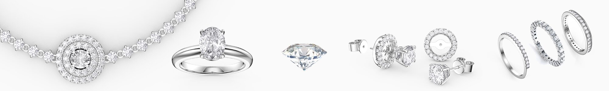 Diamond Jewelry - from Earrings studs and drops to Pendants to Engagement Rings to Bracelets