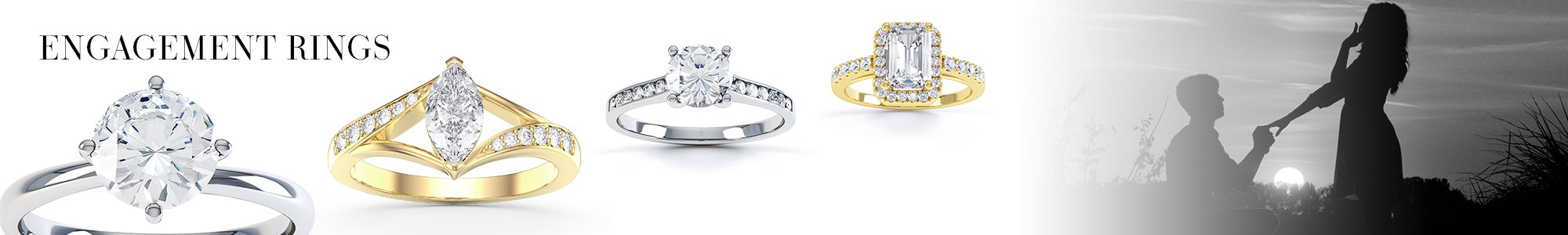 Engagement Rings - From White Sapphire set in Silver to Diamonds set in 18K Gold or Platinum.