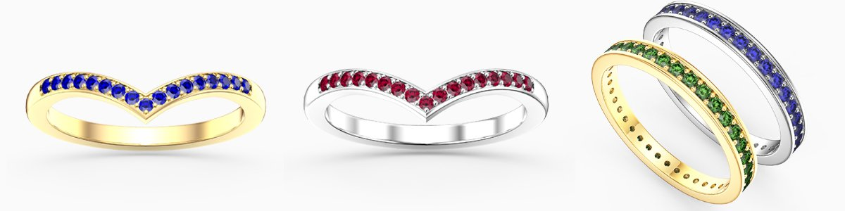 Eternity Rings for everyone - from precious gemstones to Diamonds. From Silver to 18ct Gold.