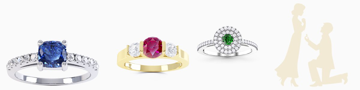 Gemstone Engagement Rings - from precious gemstones to Diamonds. From Silver to 18ct Gold.