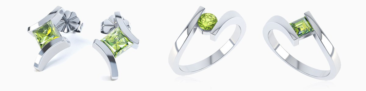Peridot Jewelry - from Earrings studs and drops to Pendants to Engagement Rings