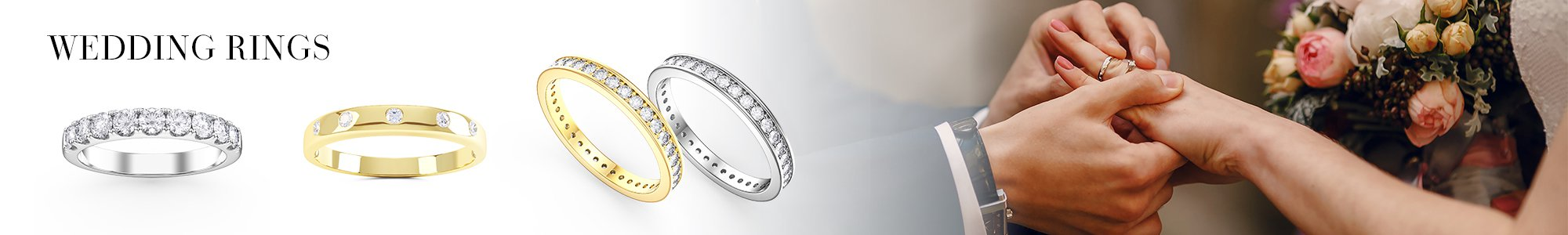 Wedding Rings - From White Sapphire set in Silver to Diamonds set in 18K Gold or Platinum.