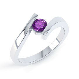 Combinations Amethyst 18ct White Gold Round Stacking Ring