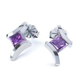 Combinations Amethyst Square Rhodium plated Silver Earrings