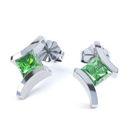 Combinations Chrome Diopside Square Rhodium plated Silver Earrings