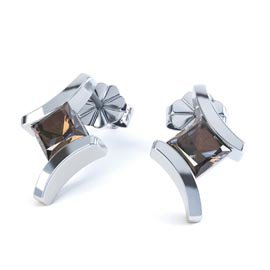 Combinations Smokey Quartz Square Rhodium plated Silver Earrings