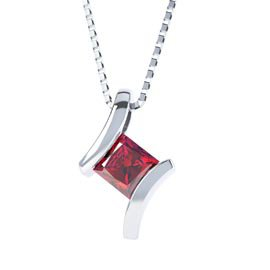 Combinations Garnet Square Silver Pendant
