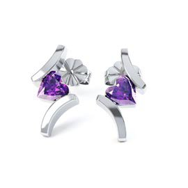 Combinations Amethyst Heart Rhodium plated Silver Earrings