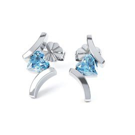 Combinations Blue Topaz Heart Rhodium plated Silver Earrings
