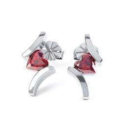 Combinations Garnet Heart Rhodium plated Silver Earrings