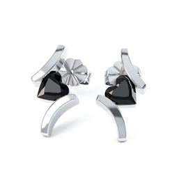 Combinations Onyx Heart Rhodium plated Silver Earrings