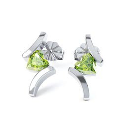 Combinations Peridot Heart Rhodium plated Silver Earrings