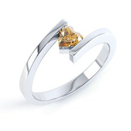Combinations Citrine Heart Stacking Silver Ring