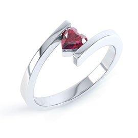 Combinations Garnet Heart Stacking Silver Ring