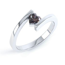 Combinations Smokey Quartz Heart Stacking Silver Ring