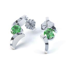 Combinations Chrome Diopside Round Rhodium plated Silver Earrings
