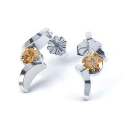 Combinations Citrine Round 18K White Gold Earrings