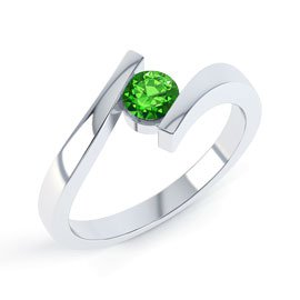 Combinations Chrome Diopside Round Stacking Silver Ring
