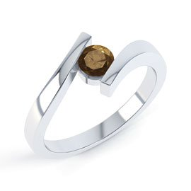 Combinations Smokey Quartz Round Stacking Silver Ring