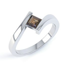 Combinations Smokey Quartz Square Stacking Silver Ring