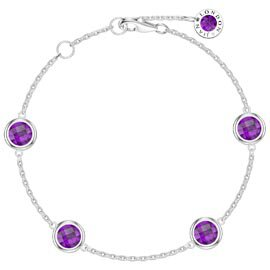 Amethyst By the Yard Platinum plated Silver Bracelet
