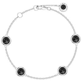 Onyx By the Yard Platinum plated Silver Bracelet