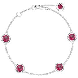 Ruby By the Yard Platinum plated Silver Bracelet