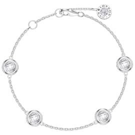 White Sapphire By the Yard Platinum plated Silver Bracelet