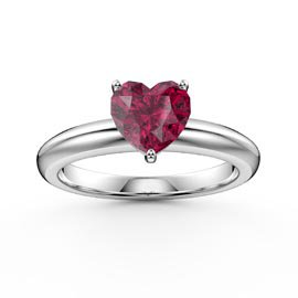 Unity 1ct Heart Ruby Solitaire Platinum Plated Silver Promise Ring