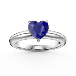 Unity 1ct Heart Blue Sapphire Solitaire Platinum Plated Silver Promise Ring