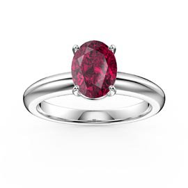Unity 1.25ct Oval Ruby Solitaire Platinum plated Silver Promise Ring