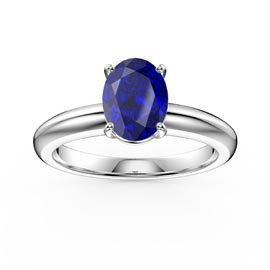 Unity 1.25ct Oval Blue Sapphire Solitaire Platinum plated Silver Promise Ring