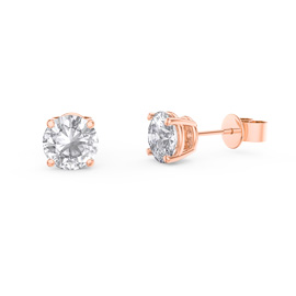 Charmisma 1ct White Sapphire 18K Rose Gold Vermeil Stud Earrings