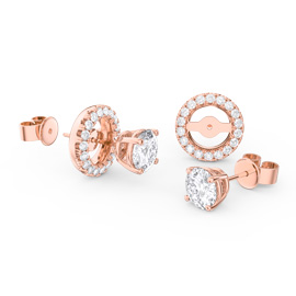 Fusion White Sapphire 18ct Rose Gold Vermeil Stud Earrings Halo Jacket Set