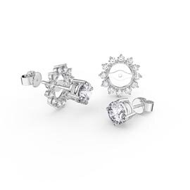Fusion White Sapphire Platinum plated Silver Stud Starburst Earrings Halo Jacket Set