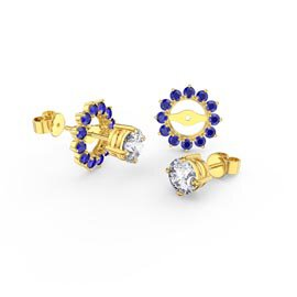 Fusion White Sapphire 10K Yellow Gold Stud Earrings Sapphire Halo Jacket Set