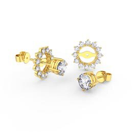 Fusion White Sapphire 10K Yellow Gold Stud Starburst Earrings Halo Jacket Set