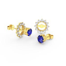Fusion Sapphire 18K Gold Vermeil Stud Starburst Earrings Halo Jacket Set