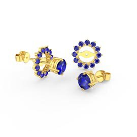 Fusion Sapphire 18K Gold Vermeil Stud Gemburst Earrings Halo Jacket Set