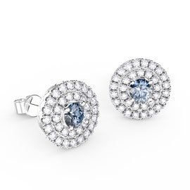 Fusion Aquamarine Halo Platinum plated Silver Stud Earrings