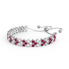 Eternity Three Row Ruby and Diamond CZ Silver Adjustable Tennis Bracelet