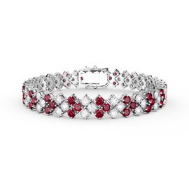 Eternity Three Row Ruby and Diamond CZ Silver Tennis Bracelet 7 Inch