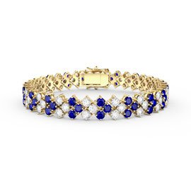 Eternity Three Row Sapphire and Diamond CZ 18ct Gold plated Silver Tennis Bracelet 7 Inch