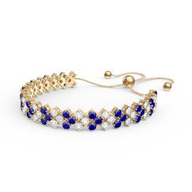 Eternity Three Row Sapphire and Diamond CZ 18ct Gold plated Silver Adjustable Tennis Bracelet